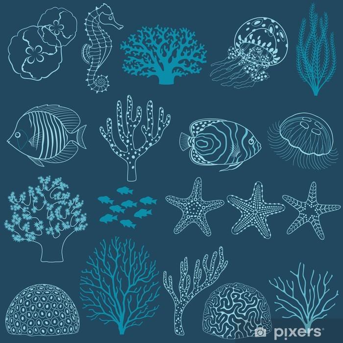 Papier peint vinyle Underwater éléments de conception de la vie - Récif de corail