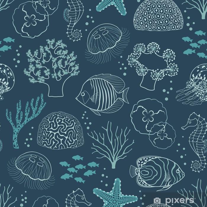 Papier peint vinyle Modèle de vie sous-marine - Récif de corail