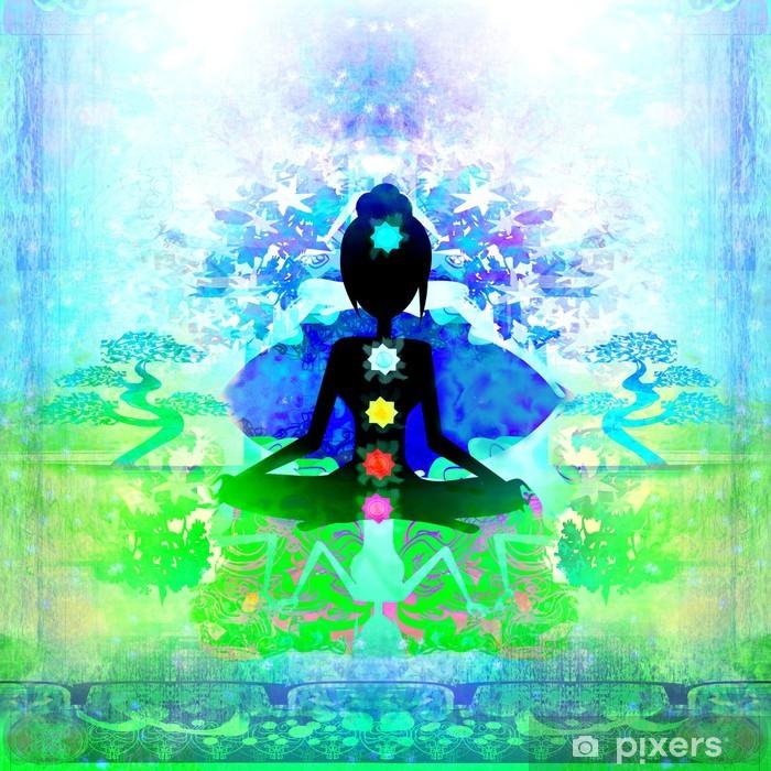 Fototapeta winylowa Yoga lotosu. Padmasana z kolorowymi punktami czakry. - Tematy