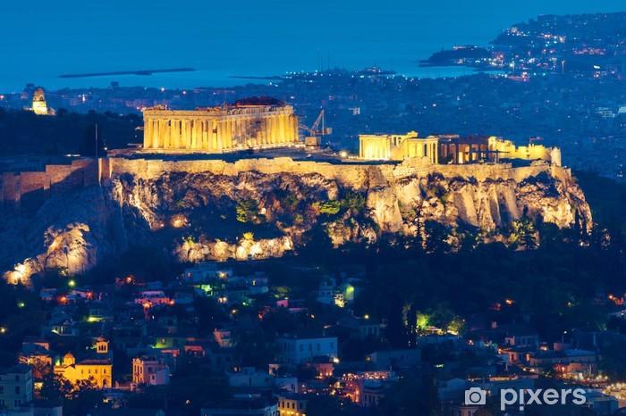 Sticker Pixerstick L'Acropole à Athènes, en Grèce, dans la nuit - Thèmes