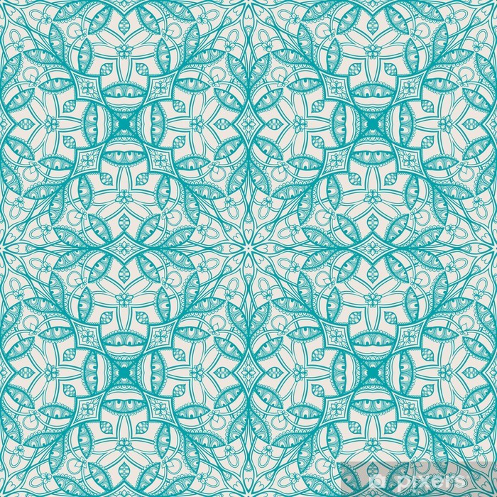 Carta da Parati in Vinile Reticolo floreale del turchese - Temi