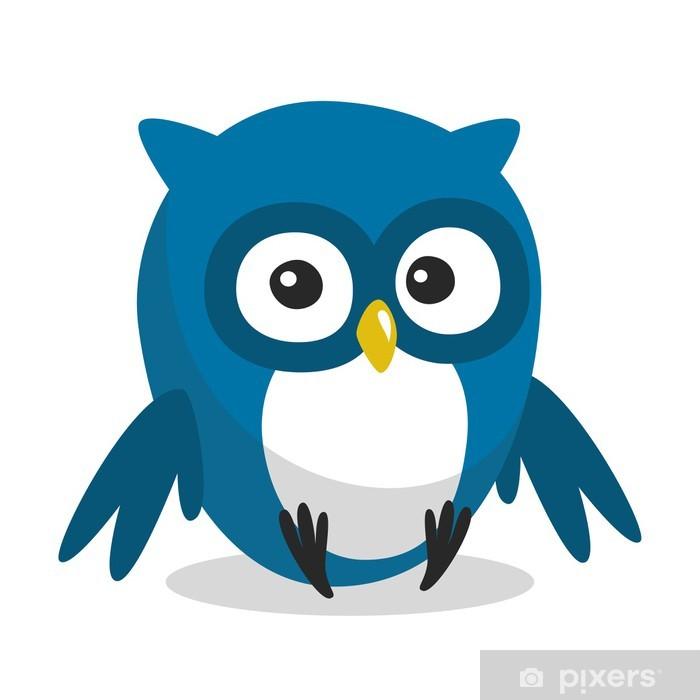 Vinilo Búho Del Dibujo Animado Azul Divertido Con Los Ojos Grandes Pixerstick