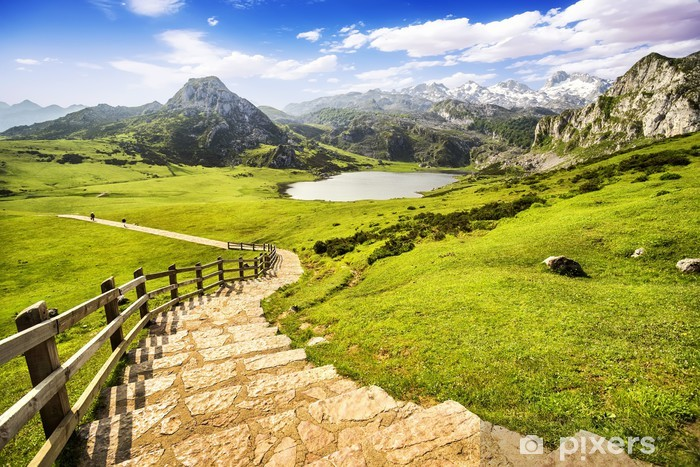 Lake Ercina, lakes of Covadonga, Asturias , Spain Pixerstick Sticker - Themes