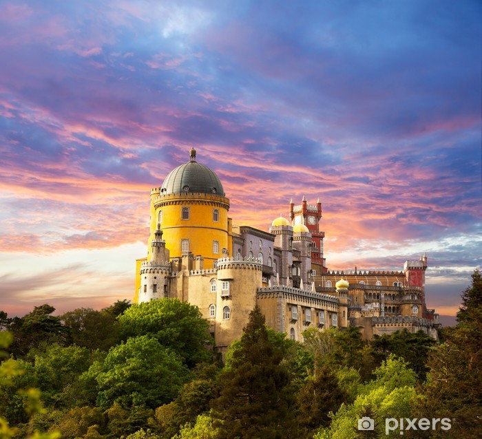 Fairy Palace against sunset sky / Panorama of Palace in Sintra, Pixerstick Sticker - Themes