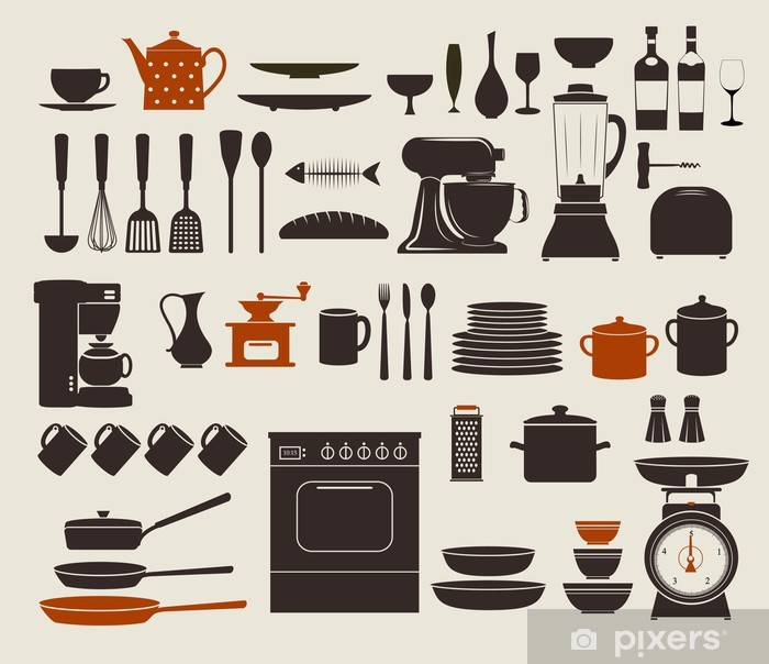 Pixerstick Aufkleber Küchengeräte, Geschirr und Icons - Themen