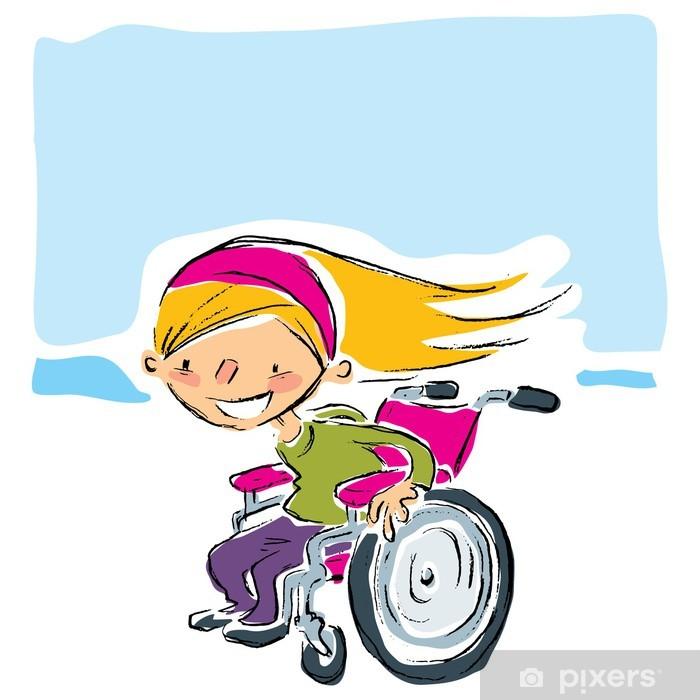 Fotomural Feliz De Dibujos Animados Sonriente Chica Rubia En Magenta