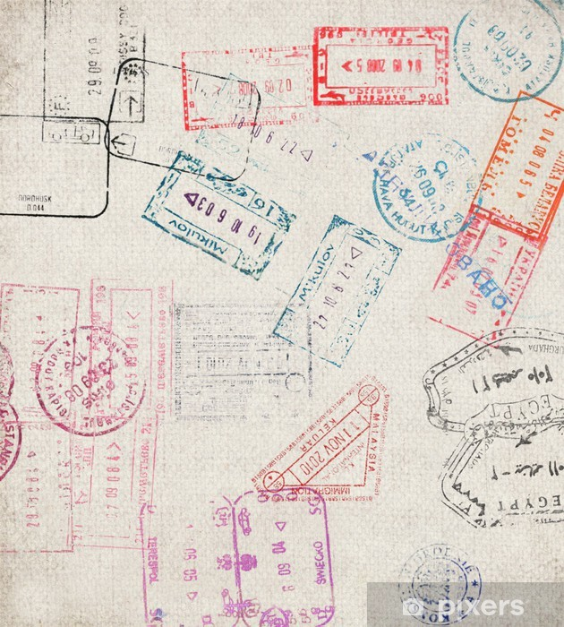 Travel background with different passport stamps Vinyl Wall Mural - Holidays