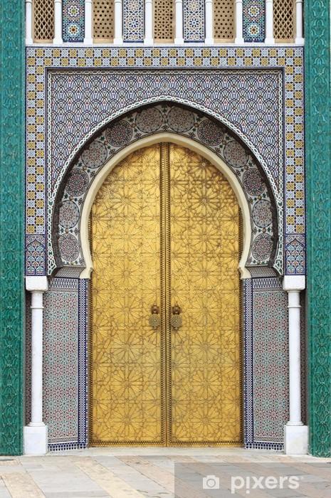 Naklejka Pixerstick Golded drzwi Pałacu Królewskiego w Fes, Maroko -