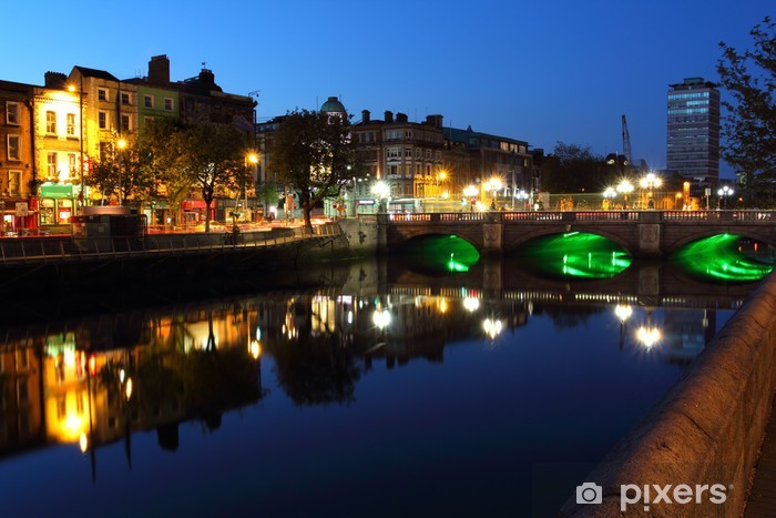 Liffey river in Dublin at dusk Vinyl Wall Mural - Europe