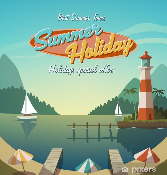 Summer holiday. Retro bacground Pixerstick Sticker - Holidays
