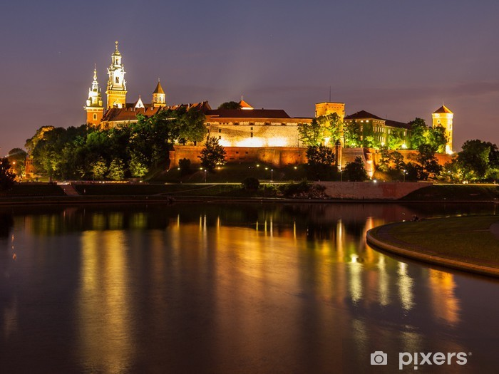 Wawel castle and Vistula river at night Pixerstick Sticker - Themes