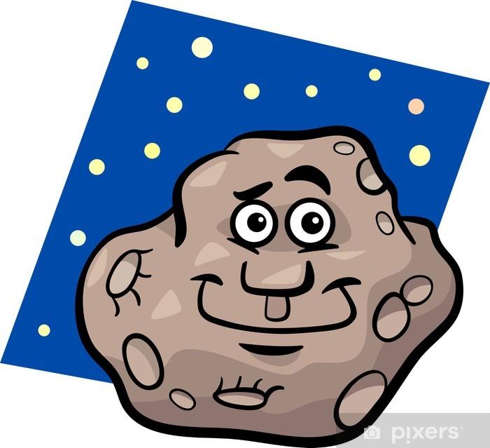 Naklejka Pixerstick Zabawna cartoon ilustracji asteroida - Przestrzeń kosmiczna