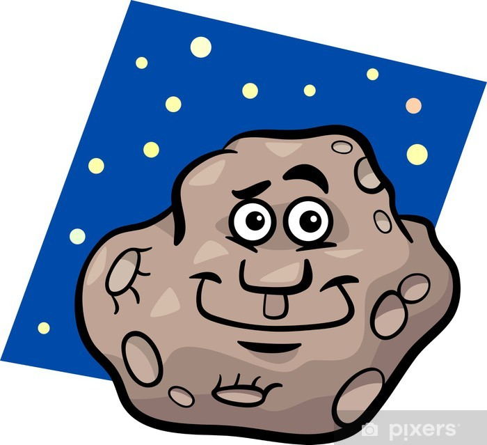 funny asteroid cartoon illustration Vinyl Wall Mural - Outer Space
