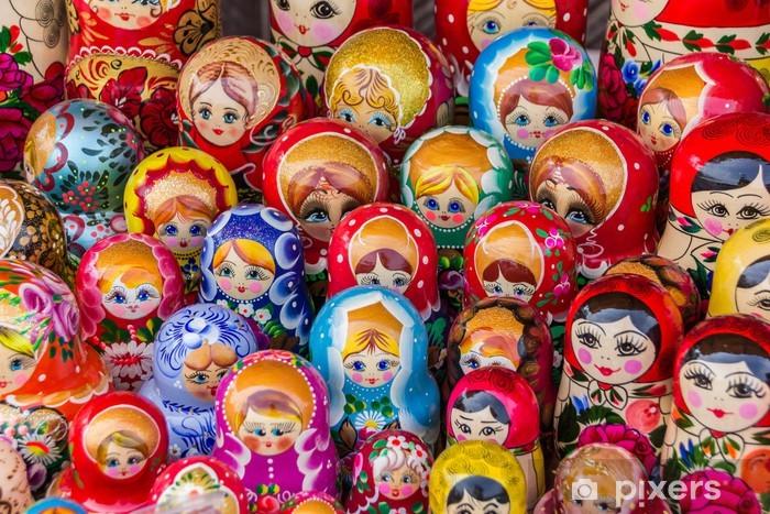 Sticker Pixerstick Colorful poupées russes en bois - Asie