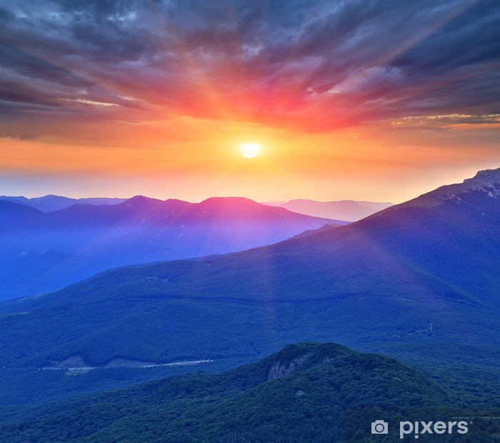 evening scene in mountains Pixerstick Sticker - Themes