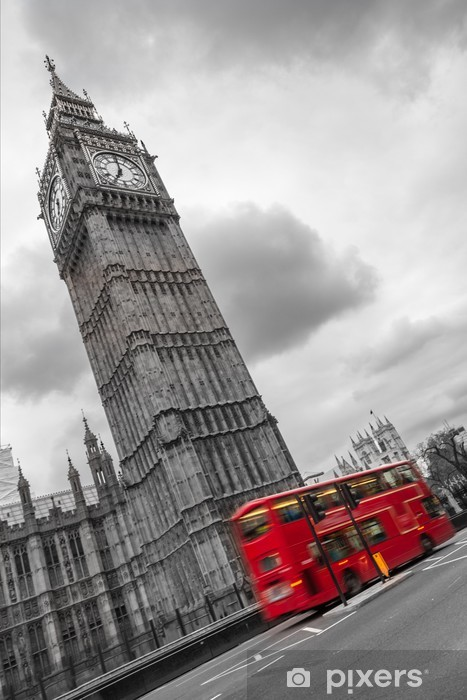 Fototapet av Vinyl Big Ben och dubbeldäckad buss, London - Destinationer