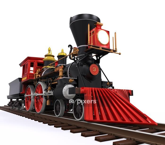 Muursticker Oude Locomotief Trein - Onderweg