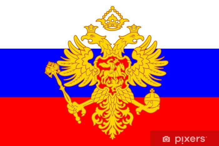 Sticker Pixerstick Manteau des bras russe (aigle bicéphale) sur le drapeau - Thèmes