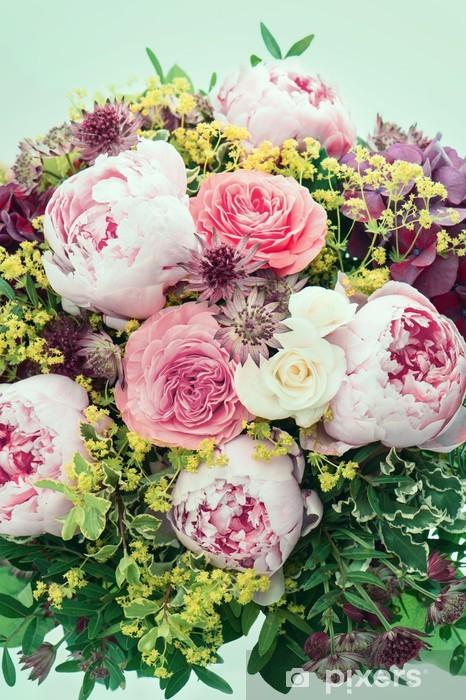 Papier Peint Belles Fleurs Rose Pivoine Image De Style Retro