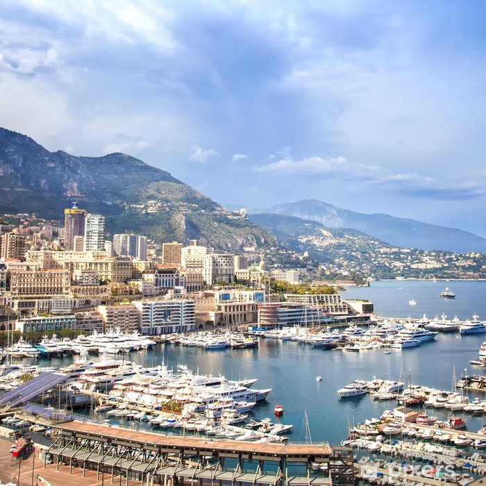 Monaco Montecarlo aerial harbor view. Azure coast. France Vinyl Wall Mural - Themes