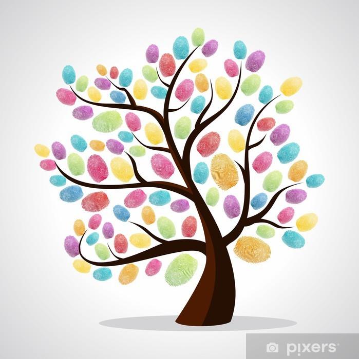 Finger prints diversity tree Poster - Trees