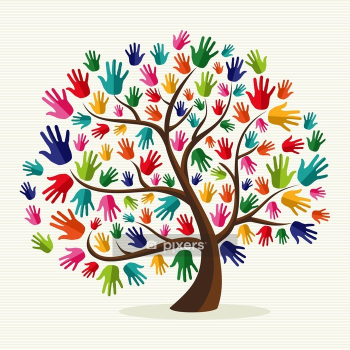Colorful solidarity hand tree Wall Decal - Wall decals