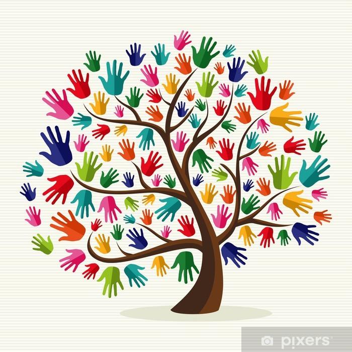 Fotomural Estándar Árbol colorido de la mano solidaria - Vinilo para pared