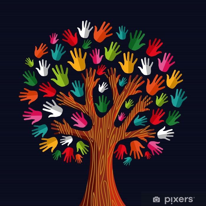 Fototapeta winylowa Ręce solidarności społecznej multi drzewo - Drzewa