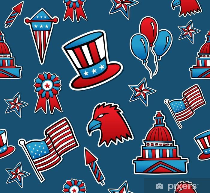 Naklejka Pixerstick Usa bezszwowe tło wzór - Ameryka