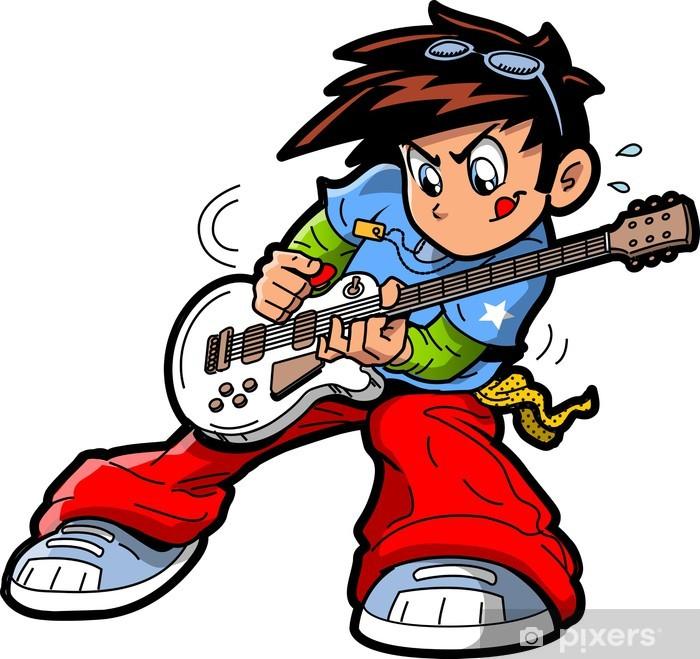 Papier peint vinyle Anime Manga Guitar Player - Musique