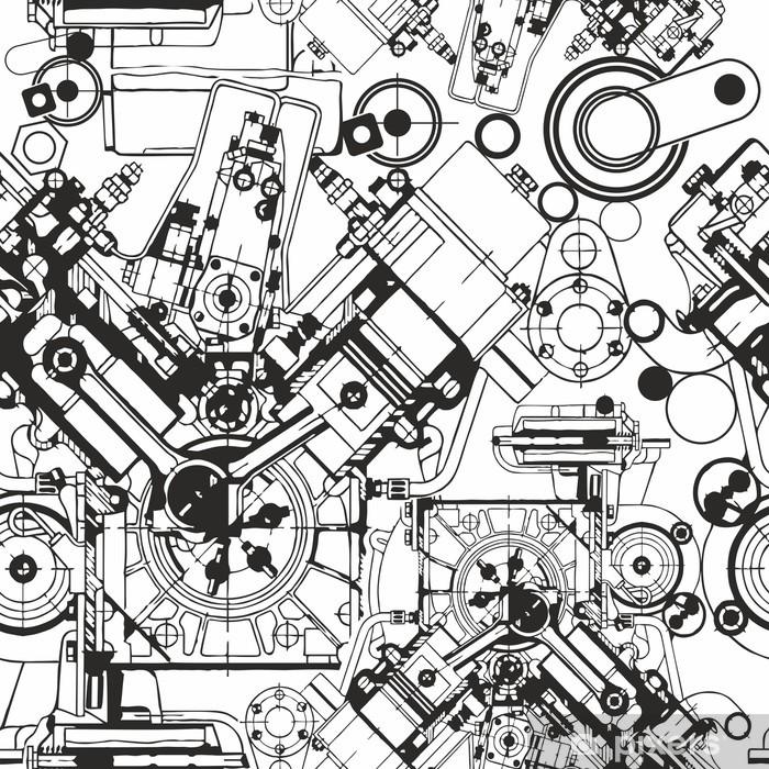 Pixerstick Sticker Tekening motor naadloos patroon - Industrieel