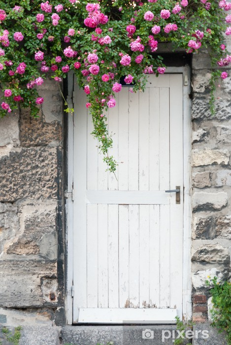 Trailing Roses on Garden Door Wall Mural , Vinyl