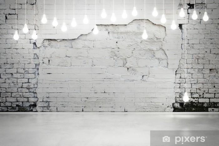Carta da Parati in Vinile Muro di mattoni danneggiato con lampadine - Stili