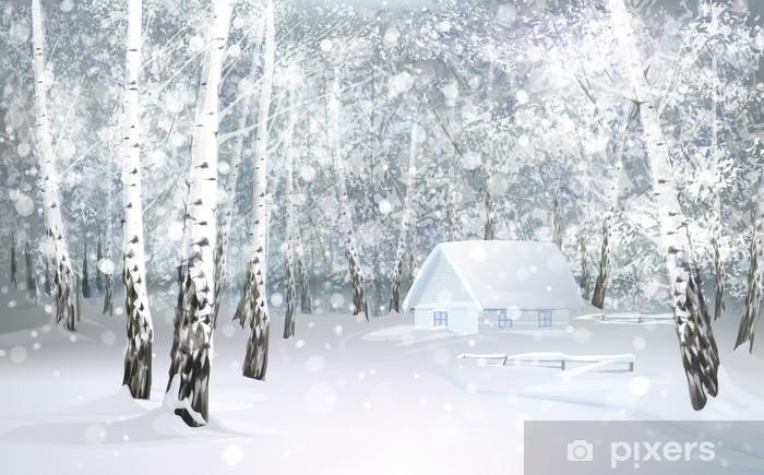 Naklejka Pixerstick Vector zimy śnieżny krajobraz z domu w lesie brzozy. - Style