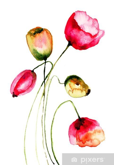Sticker Pixerstick Fleurs de tulipes, illustration d'aquarelle - Fleurs