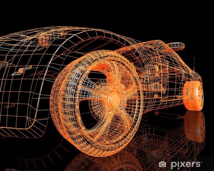 Sticker Pixerstick Vue de face des modèles de voitures modernes - Sur la route