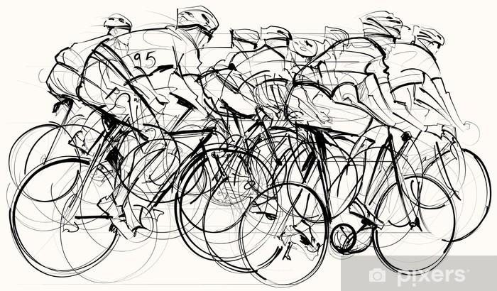 Sticker Pixerstick Cyclistes en compétition - Thèmes