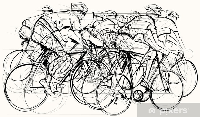 cyclists in competition Vinyl Wall Mural - Themes