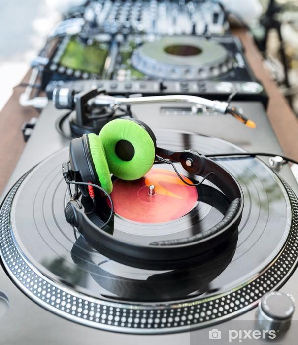 Vinyl Player with headphones Pixerstick Sticker - Music