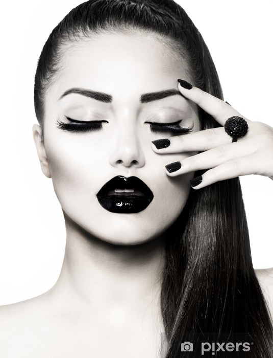 Black and White Brunette Girl Portrait. Trendy Caviar Manicure Pixerstick Sticker - Fashion
