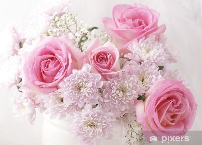 Fiori Rosa E Bianchi.Carta Da Parati Fiori Rosa E Bianchi In Un Vaso Pixers