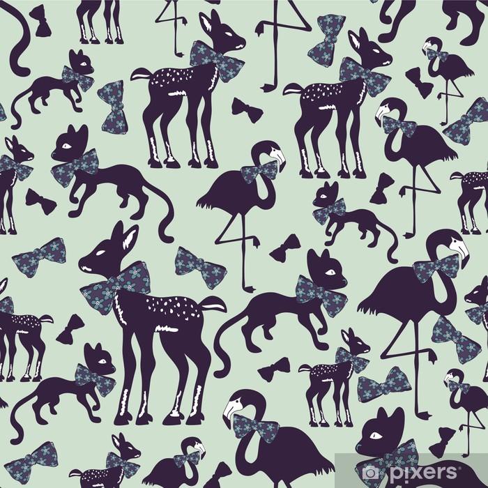 Poster Nahtlose Muster mit Tier-Silhouetten - Hintergründe