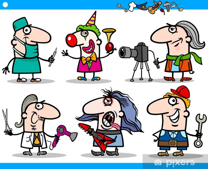 Vinilo Los Dibujos Animados En Ocupaciones Caracteres Establecidos Pixerstick