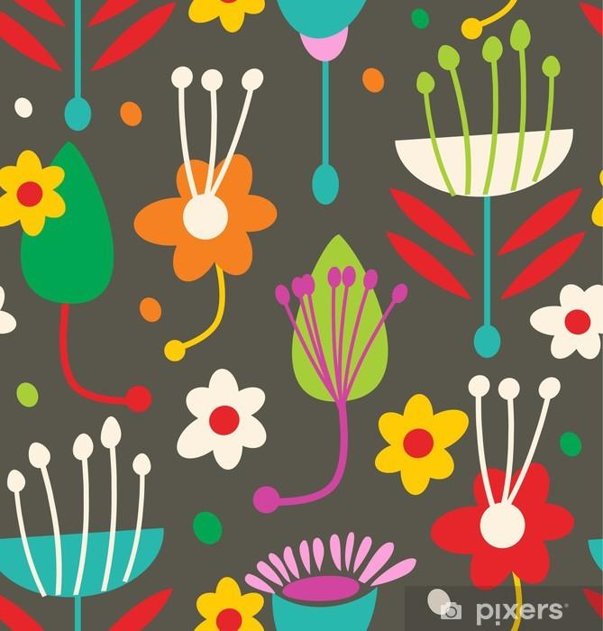Papier peint vinyle Doodle motif floral - Arrière plans