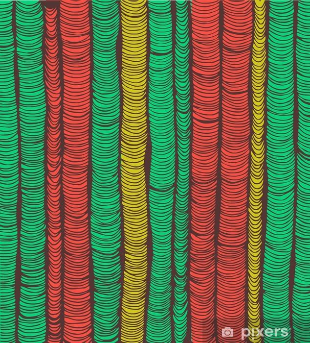 Fototapeta winylowa Wiersze z czerwonym i zielonym ręcznie rysowane pionowe fałdy - Tła