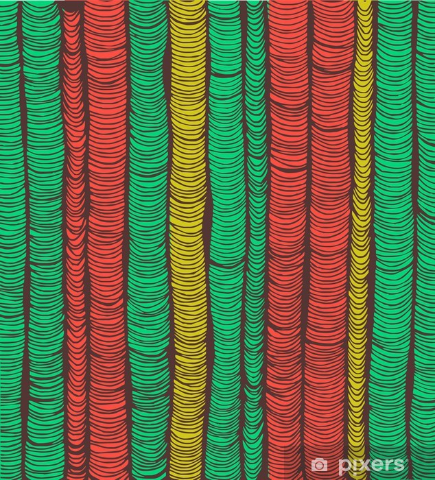 Rows of red and green hand drawn vertical folds Pixerstick Sticker - Backgrounds