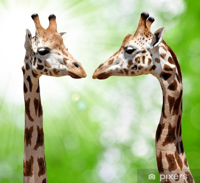 Sticker Pixerstick Girafes sur fond vert naturel - Thèmes