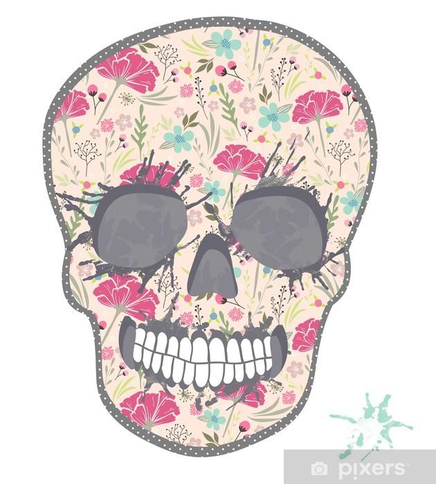 Papier peint vinyle Crâne mignon avec motif floral. Crâne de fleurs - Arrière plans
