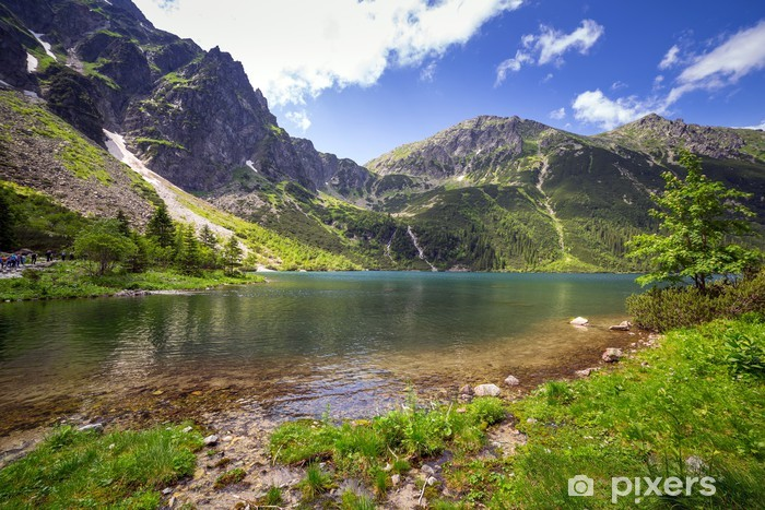 Beautiful scenery of Tatra mountains and lake in Poland Vinyl Wall Mural - Lakes