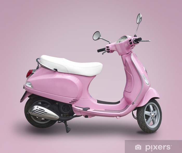 Sticker Pixerstick Scooter rose - Sur la route